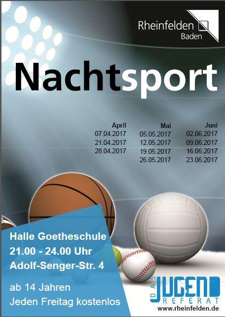 Beispiel Rheinfelden: Flyer Nachtsport (Stadt Rheinfelden/Jugendreferat)
