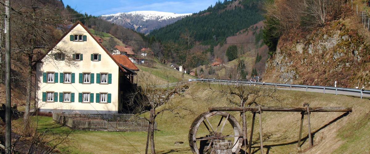 Haus mit Mühlrad im Vordergrund