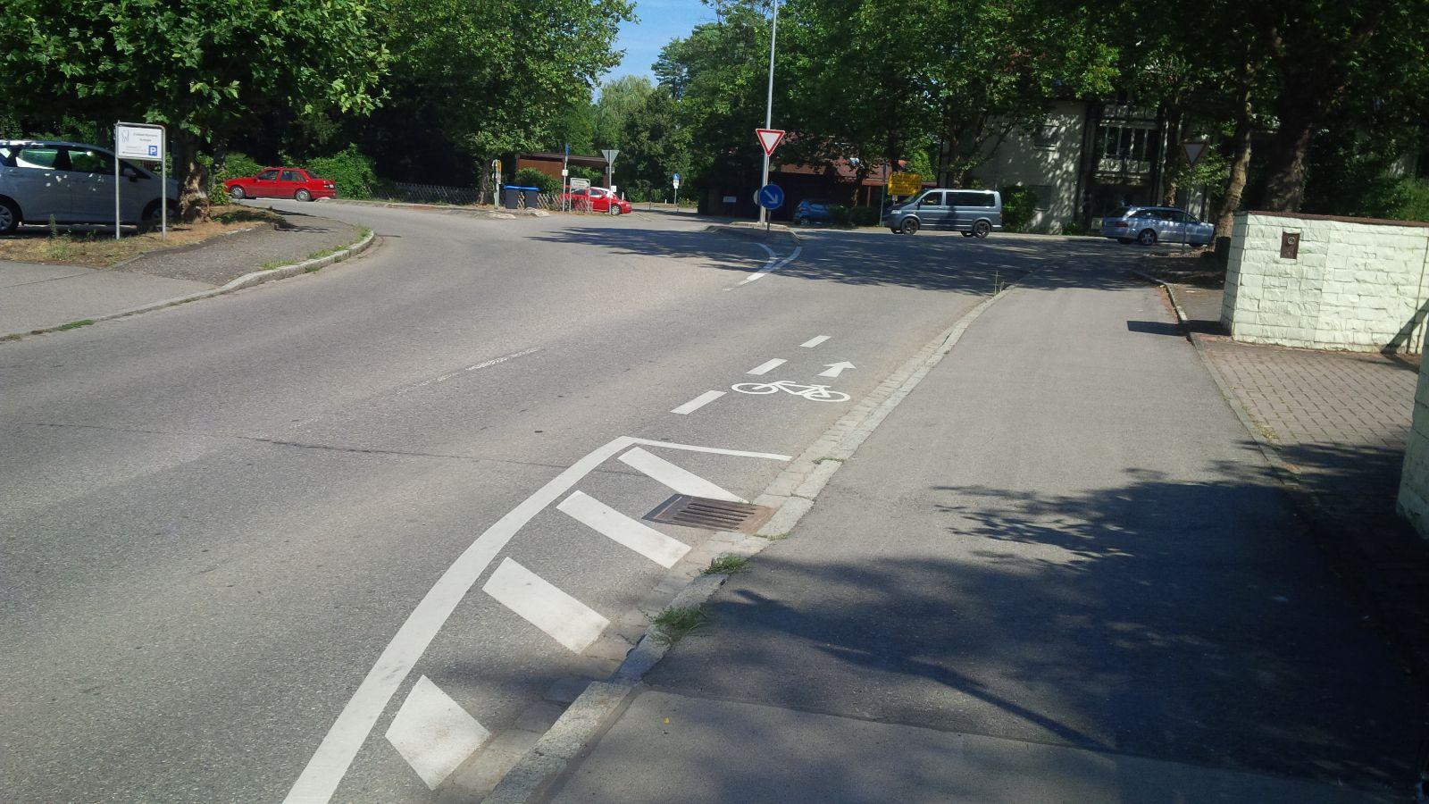 Eimeldingen Überleitung Radweg-Fahrbahn