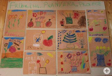 Frühlings-Bilder von Flüchtlingskinder gemalt