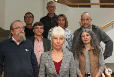 Mitarbeiter mit 40-jährigem Dienstjubiläum, von links: Hartmut Hölle, Daniel Senn, Herbert Spannbauer, Hansjörg Denz, Petra Seider, Gretel Klook, Johannes Schröder und Marion Hanser