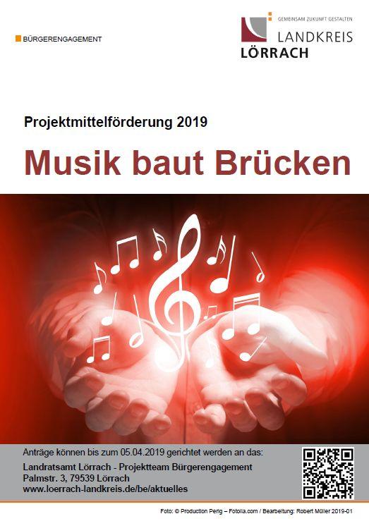 """Plakat Projektmittelförderung 2019 """"Musik baut Brücken"""""""