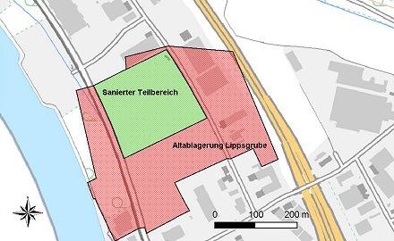 Lageplan der Altablagerung Lippsgrube
