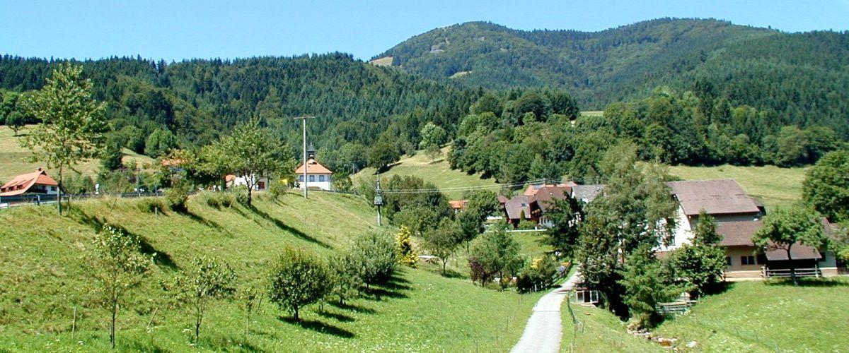 Gemeinde Böllen mit dem Belchen im Hintergrund