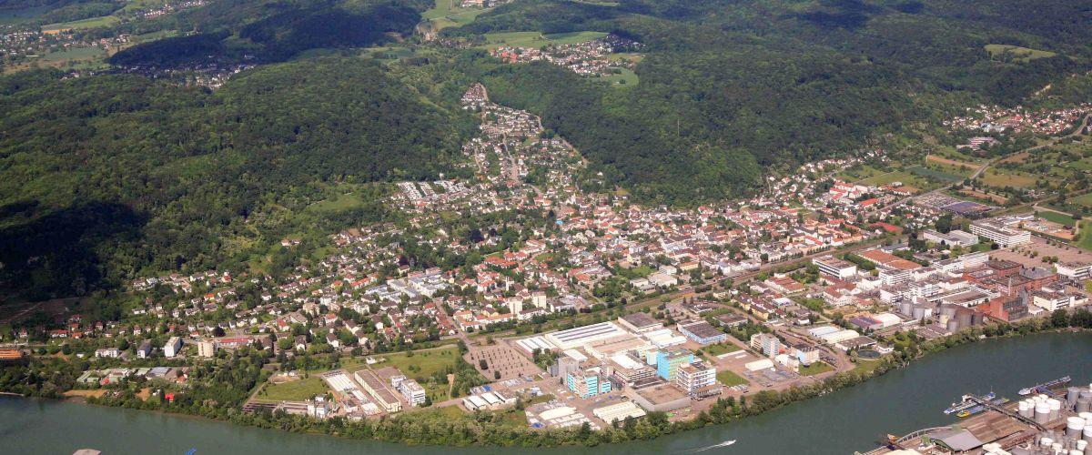 Luftbildaufnahme von Grenzach