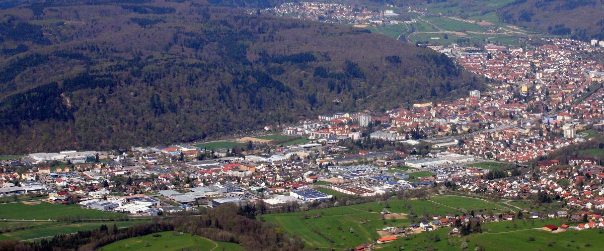 Luftbildaufnahme von Schopfheim