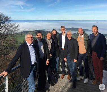 Treffen mit dem Forschungsteam auf dem Schauinsland (v. l.): Reiner Probst, Frank Pflüger, Martina Leicher, Christina Schanz, Christoph Vennemann, Gerhard Zickenheiner, Hansjörg Mair, Roland Schöttle.