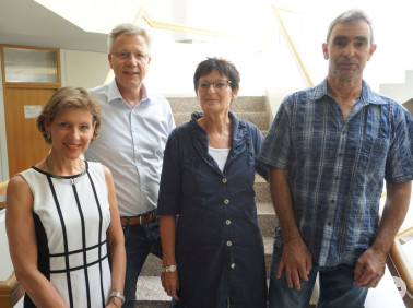 Mitarbeiter mit 40-jährigem Dienstjubiläum mit Landrätin (von links): Günter Dußmann, Carola Hugenschmidt, Gert Lais