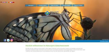 Screenshot der neuen Website (hier die Startseite) des Naturparks Südschwarzwald.