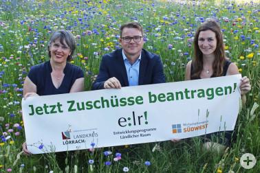 Förderexperten für den Ländlichen Raum (von links): Martina Hinrichs, Daniel Tastl, Madeline Siebert Foto: ©Landratsamt Lörrach