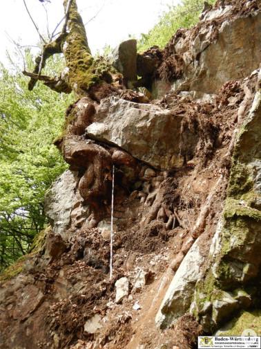 Oberer Teil der Ausbruchnische des abgestürzten Felsens