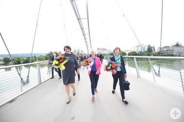 Grenzöffnung Dreiländerbrücke am 15. Juni 2020 mit Marion Dammann, Brigitte Klinkert und Elisabeth Ackermann (v.r.n.l.)
