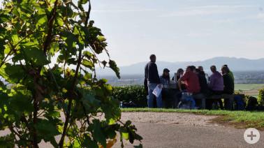 Die Teilnehmerinnen und Teilnehmer des Gästeführer-Kurses 2019/20 bei einer Lehreinheit zum Thema Wein im Markgräflerland.