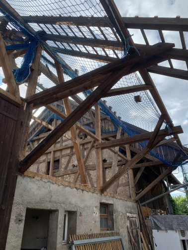 ELR-gefördertes Bauprojekt in Eimeldingen: Aus einer alten Scheune entstehen drei Wohnungen. Foto: Louisa Zeller