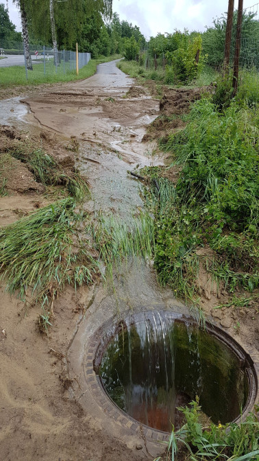 Überschwemmter Radweg durch Starkregen. Foto: Landratsamt Lörrach