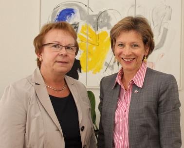 Der im Amt bestätigte Vorstand des Naturpark Südschwarzwald e. V.: Landrätin Marion Dammann und Bürgermeisterin Hannelore Reinbold-Mench. HINWEIS: Das Bild wurde vor der Corona-Pandemie aufgenommen!