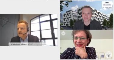Die Gastgeber und der Referent der Wirtschaftsgespräche 2021: Alexander Maas (Geschäftsführer der WSW), Landrätin Marion Dammann und Professor Dr. André Reichel