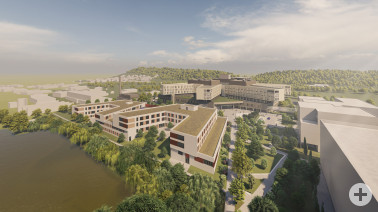 Visualisierung des Zentralklinikums. Quelle: sander.hofrichter architekten GmbH