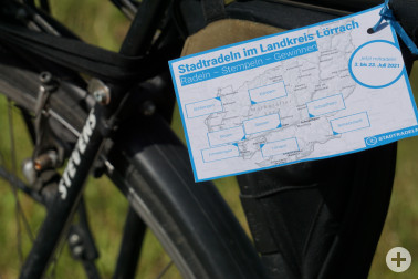 Stempelkarte im Rahmen des Stadtradelns im Landkreis Lörrach: Mit bereits fünf Stempeln nimmt man an der Verlosung toller Preise teil.